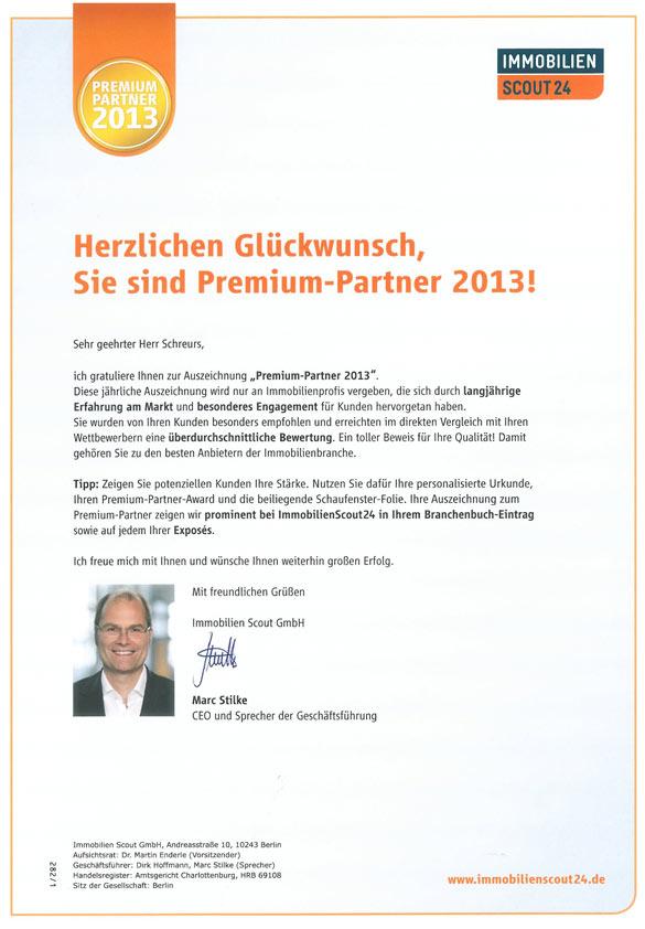 """Auszeichnung """"Premium Partner 2013"""" von Immobilienscout 24"""