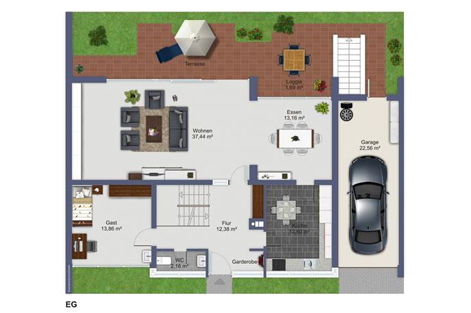 Überarbeiteter Grundriss der Immobilie